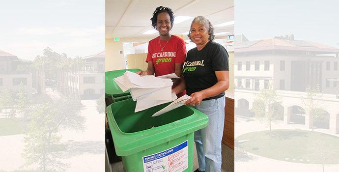 women recycling paper
